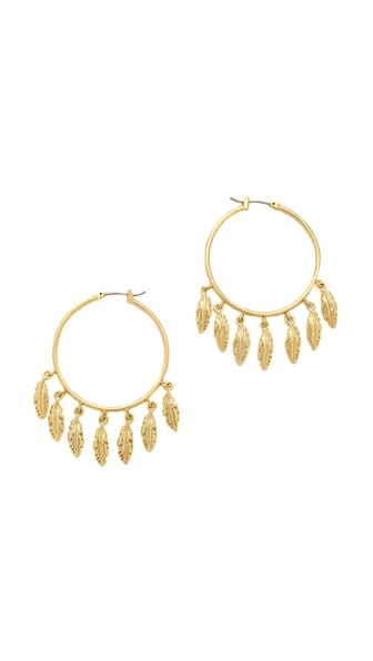 Juicy Couture Multi Feather Hoop Earrings