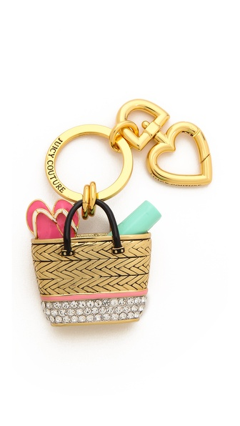 Juicy Couture Beach Bag Keychain - Gold Multi