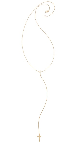 Jules Smith Hanging Cross Necklace - Gold