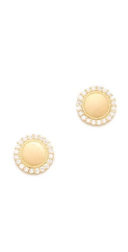 Jamie Wolf Diamond Scallop Pave Stud Earrings