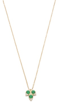 Jamie Wolf Small 3 Leaf Necklace with Stones