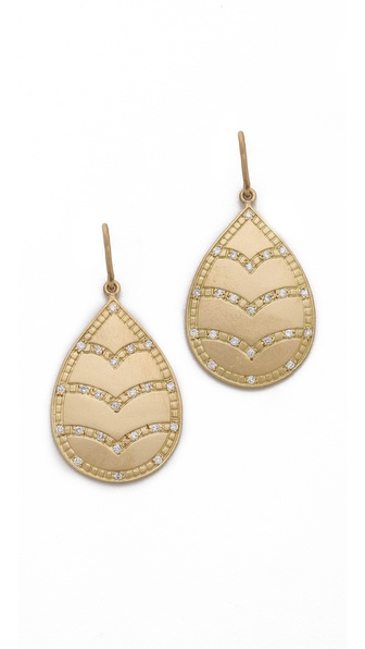 Jamie Wolf Engraved Leaf Diamond Earrings