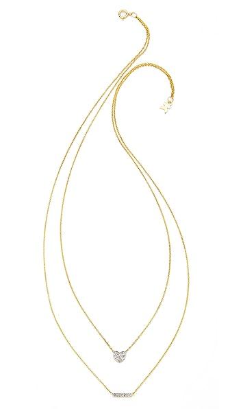 Kacey K Heart & Bar Necklace