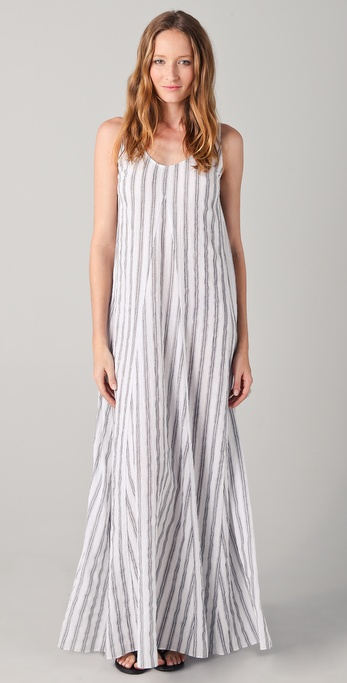 Kaelen Godet Striped Long Dress