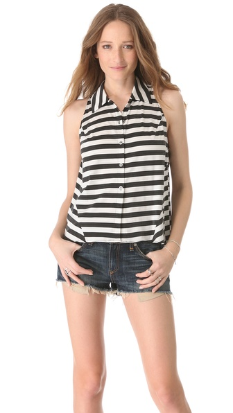 Kaelen Button Down Stripe Tank