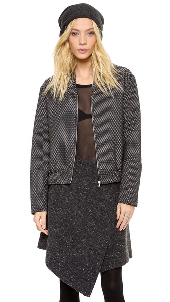 Kaelen Metallic Quilted Bomber Jacket