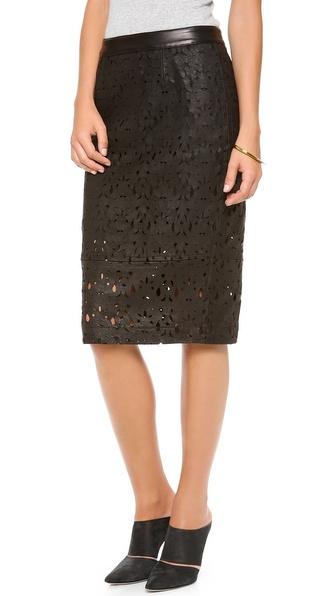 Kaelen Laser Cut Leather Skirt