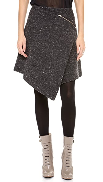 Kaelen Flecked Wool Wrap Skirt