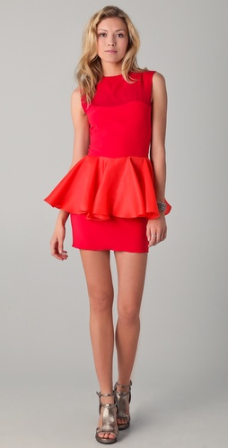 Kalmanovich Raspberry Peplum Dress