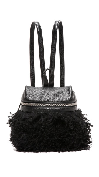 KARA Long Shearling Small Backpack