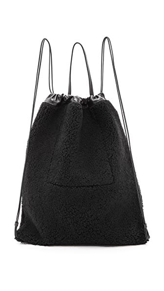 Kara Kara Shearling Drawstring Backpack (Black)