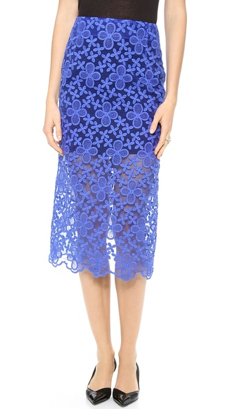 Karla Spetic Floral Embroidered Organza Pencil Skirt