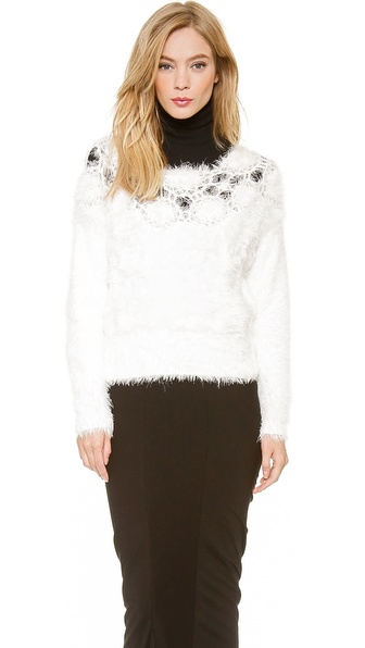 Karla Spetic Hand Knitted Flower Pullover