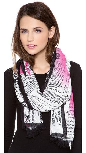 Kate Spade New York Newspaper Print Scarf