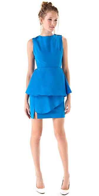 Katie Ermilio Wrapped Peplum Mini Dress