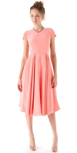 Katie Ermilio Draped Swing Midi Dress