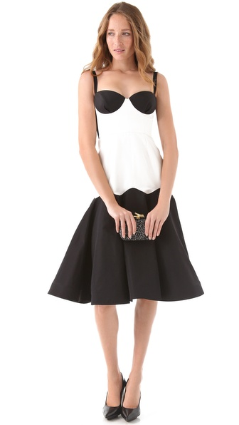 Katie Ermilio Colorblock Sweetheart Dress