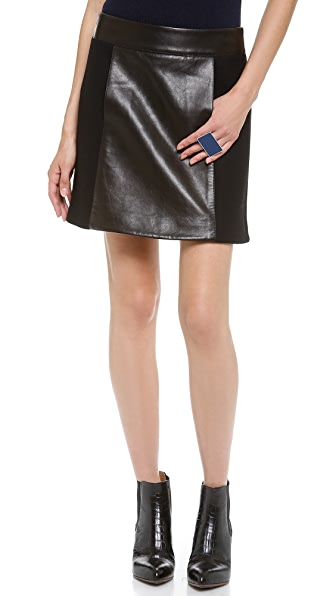 Kaufman Franco Glazed Leather Front Skirt