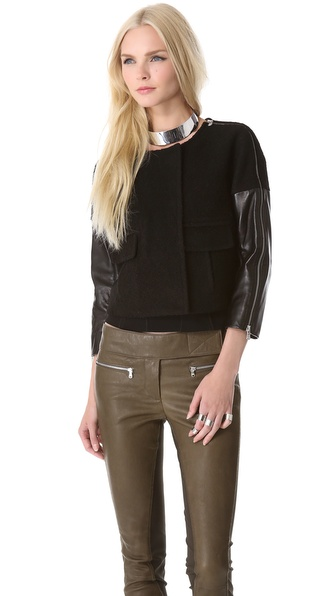 Kaufman Franco Boucle Jacket with Leather Sleeves