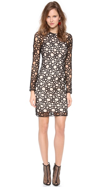 Kaufman Franco Circular Tattoo Long Sleeve Dress