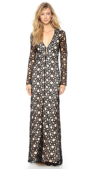 Kaufman Franco Circular Tattoo Long Sleeve Gown