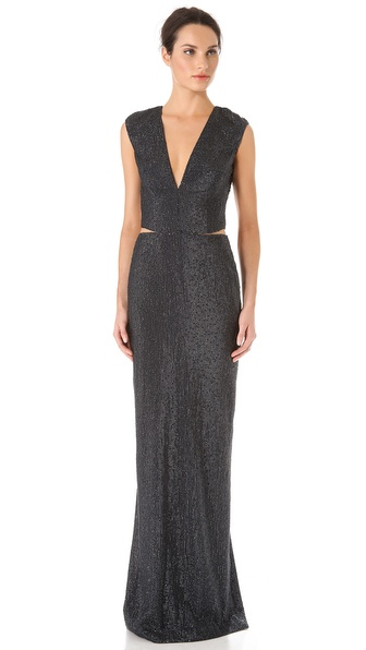 Kaufman Franco Sequins Cap Sleeve Gown