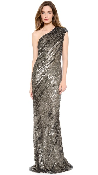 Kaufman Franco One Shoulder Gown