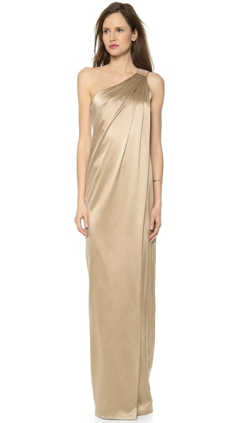 Kaufman Franco One Shoulder Silk Gown
