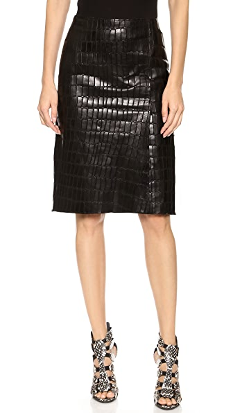 Kaufman Franco Croc Embossed Leather Skirt