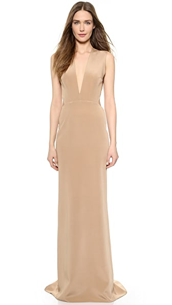 Kaufman Franco Backless Deep V Gown - Nude