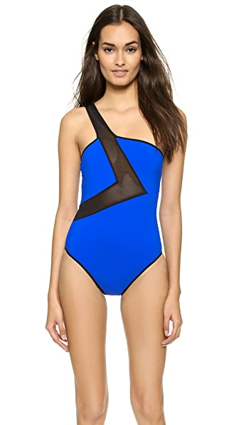 Karla Colletto Karla Colletto Power Net One Shoulder One Piece Swimsuit (Blue)