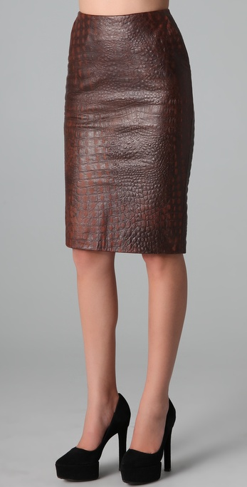 Kelly Bergin Textured Leather Pencil Skirt