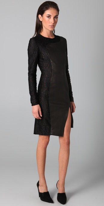 Kevork Kiledjian Cutout Leather Dress with Lace