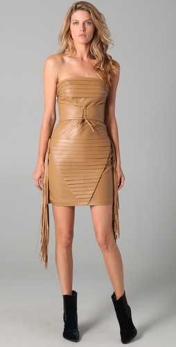Kevork Kiledjian Corset Leather Fringe Dress