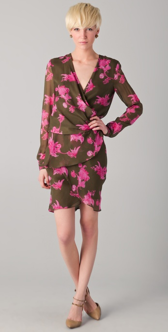 Kevork Kiledjian Print Wrap Dress