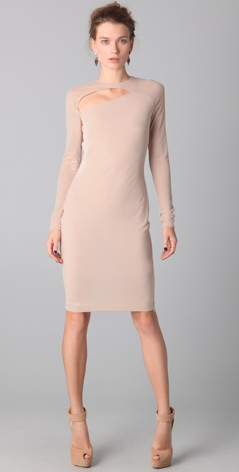 Kevork Kiledjian Long Sleeve Open Front Dress