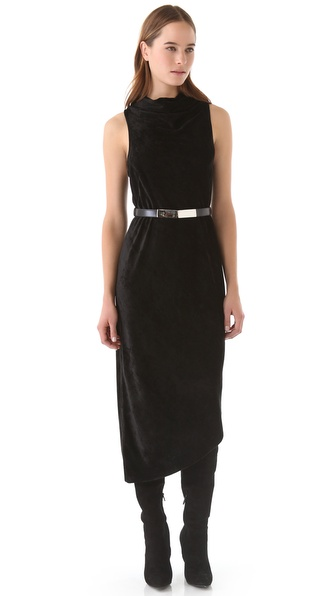 Kimberly Ovitz Velvet Cowl Maxi Dress