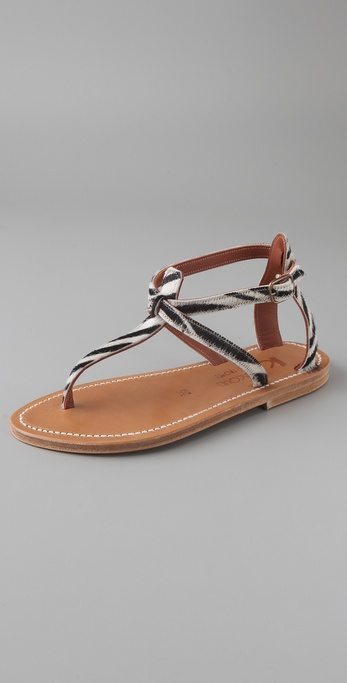 K. Jacques Buffon Haircalf T Strap Sandals