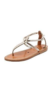 K. Jacques Buffon Metallic Sandals