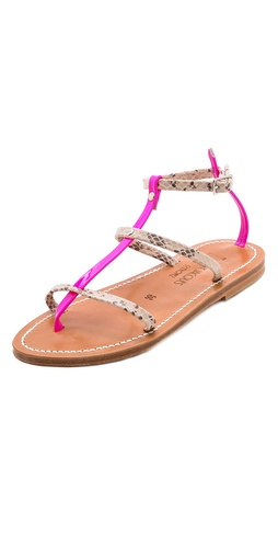 Kupi K. Jacques cipele online i raspordaja za kupiti Patent neon straps add an edgy element to snake-embossed leather K. Jacques sandals. Buckle ankle straps. Rubber coated heel and leather sole.  Leather: Calfskin. Made in France. This item cannot be gift-boxed. - Kampal Duna/Fluoro Rose