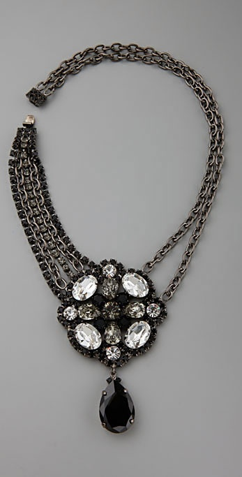 Kenneth Jay Lane Jet Multi Crystal Pendant Necklace