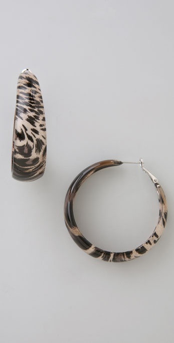 Kenneth Jay Lane Leopard Print Hoops