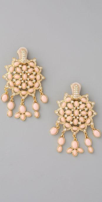 Kenneth Jay Lane Fancy Clip On Drop Earrings