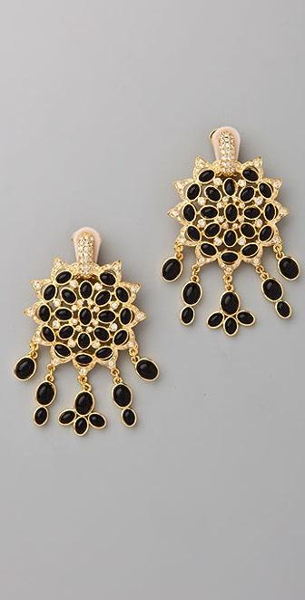Kenneth Jay Lane Black Cabochon Fancy Drop Earrings