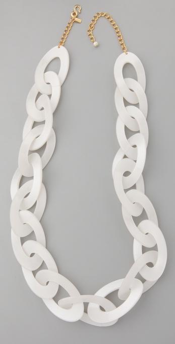 Kenneth Jay Lane Pearlized Bone Link Necklace