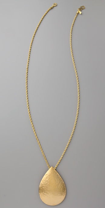 Kenneth Jay Lane Satin Gold Drop Pendant Necklace