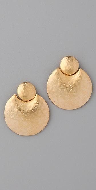 Kenneth Jay Lane Satin Gold Doorknocker Earrings