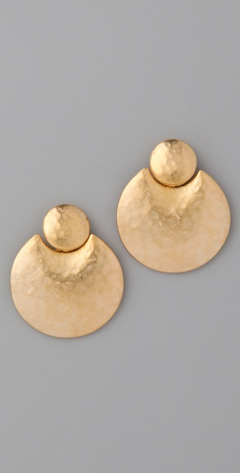 Kenneth Jay Lane Satin Gold Doorknocker Earrings