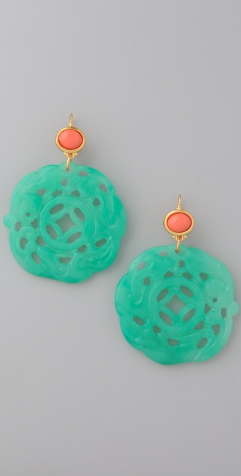 Kenneth Jay Lane Coral and Jade Earrings