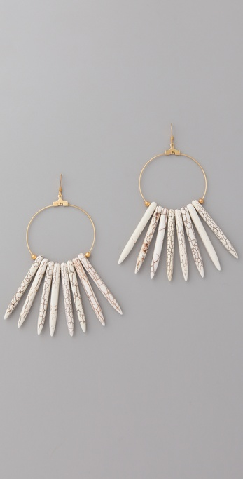 Kenneth Jay Lane Bone Hoop Earrings